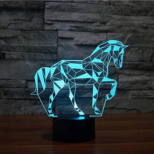 A-Generic 3D Illusion Lámpara LED Luz de luz Luz Color Cambiable Touch Sensor Control Puzzle Caballos Acrílico Niños Dormitorio USB Lámpara de Mesa 16 Color