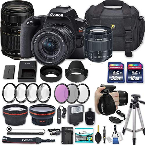 "Canon EOS Rebel SL3 DSLR Camera with EF-S 18-55mm f/4-5.6 is STM Lens + 70-300mm f/4-5.6 Lens + 2 Memory Cards + 2 Auxiliary Lenses + HD Filters + 50"" Tripod + Premium Accessories Bundle (25 Items)"