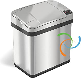 iTouchless Stainless Steel Trash Can, Touchless Sensor Lid, Odor Filter and Fragrance, 2 Gal