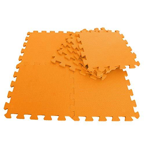 BLADO tapetes de Espuma de Enclavamiento Suave para Piso EVA Puzzle de Espuma para Ejercicio de Piso Alfombra de Juego, Naranja, 10 PC
