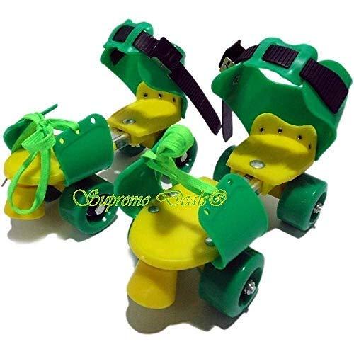 Supreme Deals Designed Plastic Adjustable Inline Roller Skates/Skating Shoe with Front Break for Kids (Green, 4-12 Years)