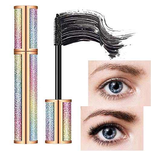 4D Silk Fiber Lash Vivid Galaxy Mascara,Natural Waterproof Smudge-Proof Mascara, All Day Exquisitely Long, Eyelashes for Longer, Lasting Thick, No Clumping, Dramatic Extension.(Black)