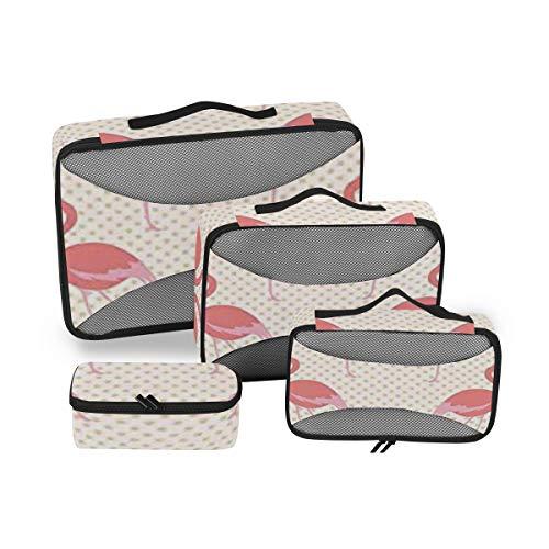 Flamingo 4pcs Large Travel Toiletry Bag for Women Big Wash Bags Hair Dryer Case Multi-Use Toiletries Kit Cosmetics Makeup Bathroom Organizer Suitcase Luggage