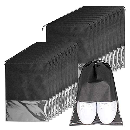 Bolsas de Zapatos, 20pcs Zapatos de Viaje Bolso, Impermeable Bolsa a Prueba de Polvo con Ventana Transparente y Cordón,Plegables, para Viajes,Camping,Transporte y protección de Zapatos