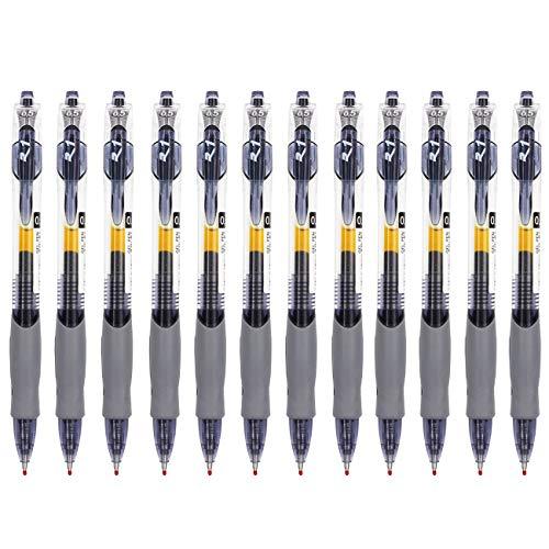 Magicdo Retractable Ballpoint Pens,12 pcs Premium Gel black Ink Roller Ball Pens, Fine Point, 0.5 Millimeter Metal Tip (12pcs)