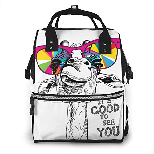 UUwant Sac à Dos à Couches pour Maman Large Capacity Diaper Backpack Travel Manager Baby Care Replacement Bag Nappy Bags Mummy BackpackPortrait of A Giraffe in A Bright Coloring Glasses