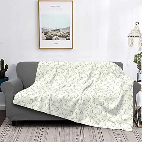 Manta Mantas de microfibra ultrasuaves, patrón esbozado de azulejos dibujados a mano con diferentes poses de animales juguetones, manta suave y liviana para la cama, sofá, sala de estar, 40 'x 50'