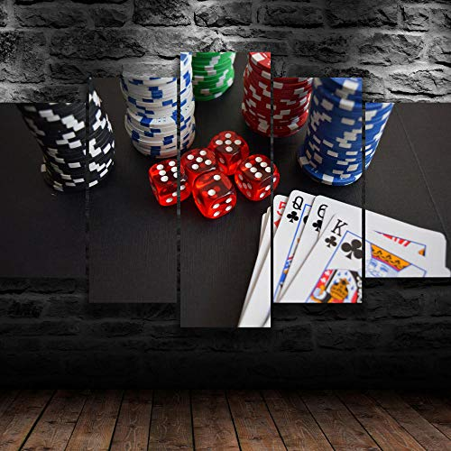 AWER Lienzos Cuadros Impresos Cartas Fichas Dados Juego Casino Artística Imagen Gráfica Wall Art Panel Cuadros Modernos Decorativo para Tu Salón o Dormitorio 5 Piezas 150x80cm