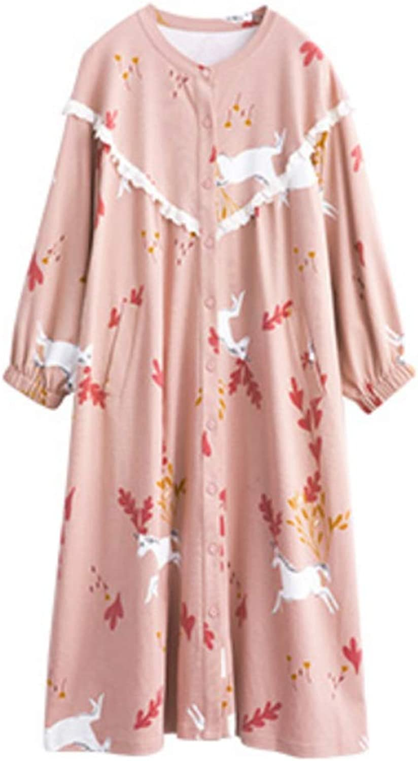 NAN Liang Autumn Cotton Ladies Pajamas, Cute Cartoon Loose Bathrobes, Large Size Long Sleeve Nightdress Home Service Soft (Size   M)