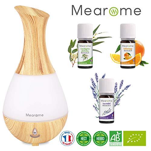 Ätherische Öle Set BIO mit Aroma Diffuser aus Holz Ultraschall Duft Öl Lavendelöl Orangenöl Eukalyptusöl Duftlampe Luftbefeuchter Diffusor Raumbefeuchter Aromatherapie Geschenk Idee