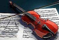 クラシック大人のためのジグソーパズル1500ピースの赤いバイオリンと楽譜DIY木製パズル子供のおもちゃ 35x23inモダンウォールアートユニークなギフト家の装飾クリスマスパズル