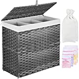 Greenstell Laundry Basket with 2 Removable Liner Bags & 5 Mesh Laundry Bag, 3 Sections Divided Hampers Handwoven Synthetic Rattan Laundry Hamper with Lid and Handles, Easy to Install Grey