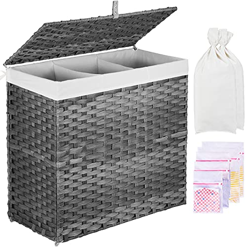 GREENSTELL Laundry Hamper with Lid, 125L Large 3 Sections Clothes Hamper with 2 Removable Liner Bags & 5 Mesh Laundry Bags, Handwoven Synthetic Rattan...