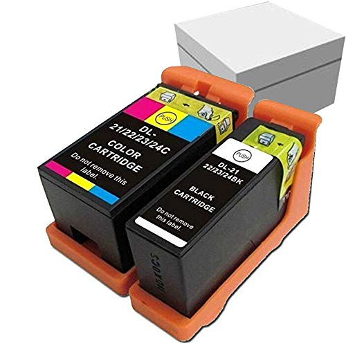 Compatible Ink Cartridge Replacement for DELL 21 22 23 24 Printer Ink Cartridge for DELL V313 V313 Printer(1Black+1Color)