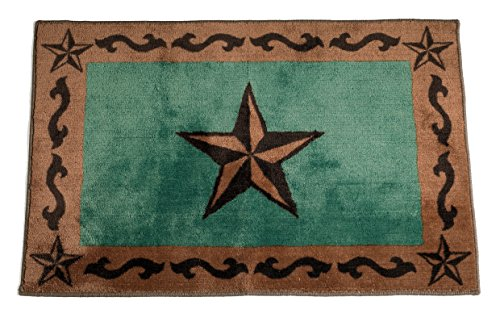 HiEnd Accents Western Star Print Rug, 24 36-Inch, Turquoise