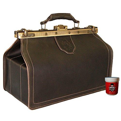BARON of MALTZAHN Doctors Bag - Mens Top-Handle bag HIPPOCRATES brown  leather - Made in Germany - Rodrick Deck daw