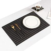 Jujin プレースマット 4枚セット おしゃれ 北欧 ランチョンマット テーブルマット 撥水 防汚 丸洗い 滑り止め 食卓 華やか PVC製 家庭 レストラン 用 (4, 黒のストリップ)