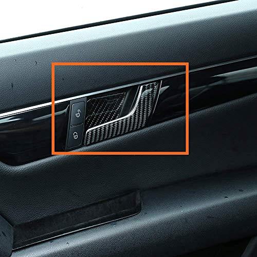 WYZXR 4 Piezas Pegatinas de manija de Puerta Interior de Coche de Fibra de Carbono compatibles con Benz C Class W204 C180 C200 C260 2007-2013 Accesorios