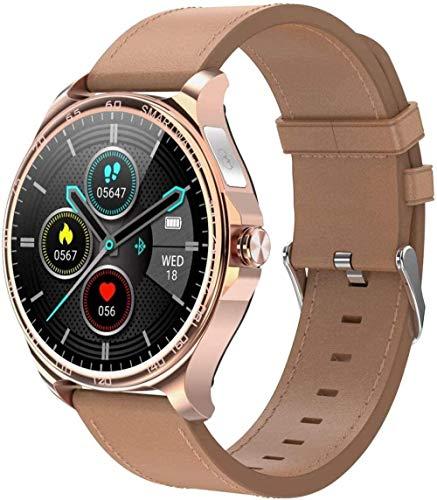 JSL Smart Watch 1 3 pulgadas de alta definición Full Touch Ips Pantalla a color de llamada entrante recordatorio de llamada Bluetooth llamada para Android y iOS cuero oro