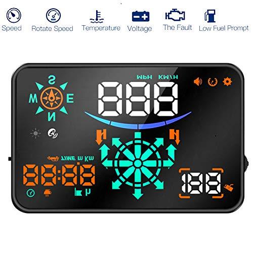 HUD Head-Up Display Digital Car Projection GPS Navigation + Speed Mobile Phone Bluetooth Interconnection for All Car's Best Head-Up Display, Black