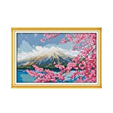 PJX Kit Punto Croce Monte Fuji Stagione Primaverile Giappone Aida conteggio 18ct 14ct 11ct Stampa Ricamo Fai da Te Forniture Fatte a Mano Ricamo bag-11ct Tela unprint