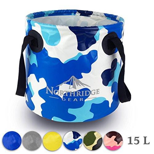 Falteimer Faltschüssel im trendigen Design | Camping Angeln Party Garten | Einsetzbar als Faltbare Wasch-Schüssel, Wasserkanister oder Falt-Spülbecken | Camouflage Blau, 20L