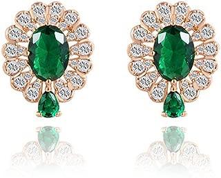 Women's New Exquisite Fashion Jewelry Hot Sale Rose Gold Teardrop Green Diamond Earring