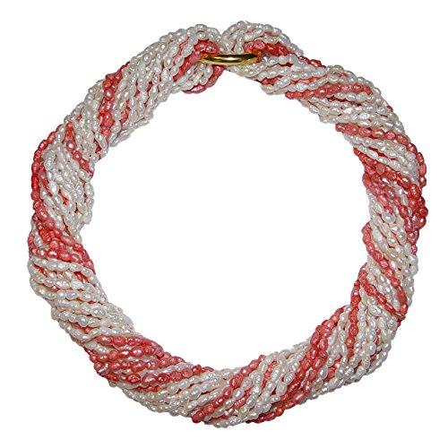 10 Stück Biwa natur gewachsene Süßwasser Perlen Ketten = 1 Collier je einzelne Kette ca. 90 cm 7x rohweiß und 3 x koralle rot incl. 2 x Kettenverschluss (4601)