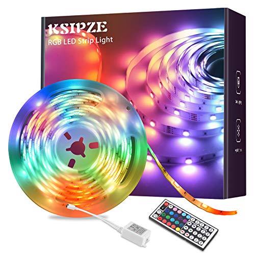 Ksipze LED Strip 5m, RGB LED Streifen Farbwechsel LED Band mit IR Fernbedienung, für zu Hause, TV, Party, Küche, Schlafzimmer