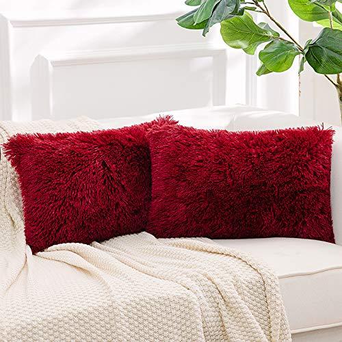 NordECO HOME Paquete de 2 Funda de Almohada de Piel sintética Fundas de Cojines Suaves Funda de Almohada Decorativa de Felpa para Sala de Estar Sofá Dormitorio Coche 30 x 50 cm Vino Rojo