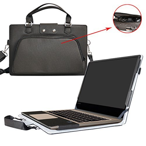 """Yoga 920 Case,2 in 1 Accurately Designed Protective PU Leather Cover + Portable Carrying Bag for 13.9"""" Lenovo Yoga 920 920-13IKB Series Laptop(Not fit Yoga 910/900/720/710/700 Series),Black"""