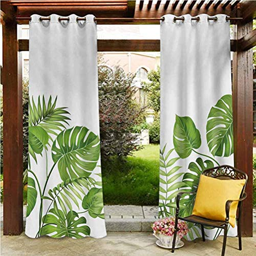 ScottDecor Leaf Durable Curtain Gazebo Garden Furniture House Nature Jungle Forest Rainforest Inspired Leaves Plant Foliage Swirls Botanic Image Pale Green 108' W by 108' L(K274cm x G274cm)