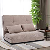 Merax Floor Sofa Bed Adjustable Futon Sofa Bed Floor Couch with 5-Position Loveseat Couch with 2 Pillows (Light Brown)