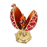 QIFU Hand Painted Enamelled Red Faberge Egg Style Decorative Hinged Jewellery Trinket Box Unique...