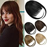 EMERLILY Bangs Hair Clip in Hair Extensions Human Hair Flat Front Face Air Fringe Bangs with Temples Real Human Hair Pieces for Women Natural Black