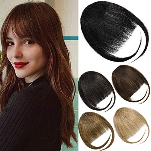 EMERLILY Bangs Hair Clip in Hair Extensions Human Hair Flat Front Face Air Fringe Bangs with Temples Real Human Hair Pieces for Women Dark Brown
