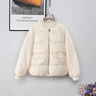 New Women's Ultra Light Weight Short Down Jacket White Duck Down Coat Fashion Loose Zipper Jacket for Students,White,M