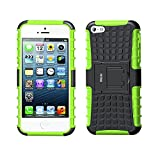 Funda iPhone 5S, Funda iPhone SE, Fetrim Proteccion Cáscara Cases Delgada de Golpes Doble Capa de Tough Silicona TPU + plastico Anti-Shock de Soporte de Protectora para Apple iPhone 5 5S SE - Verde
