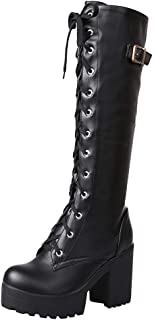 Women Sexy High Heel Lace Up Thick Platform Knee Square Heel Boot Snow Boot Shoe