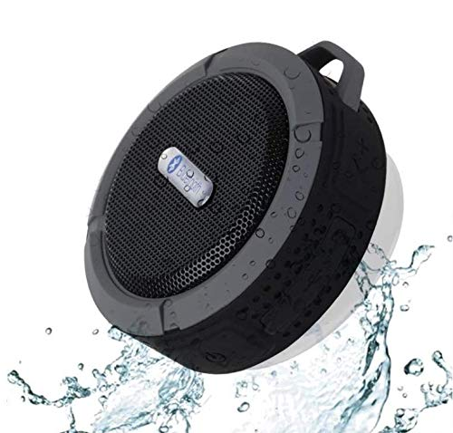 Wireless Shower Speaker, Drone-Clone Xperts - Loudmouth Portable Bluetooth Waterproof Speaker with Loud Ultra-HD Sound, Upgraded Longer Playtime, Suction Cup and Carabiner Hook Included