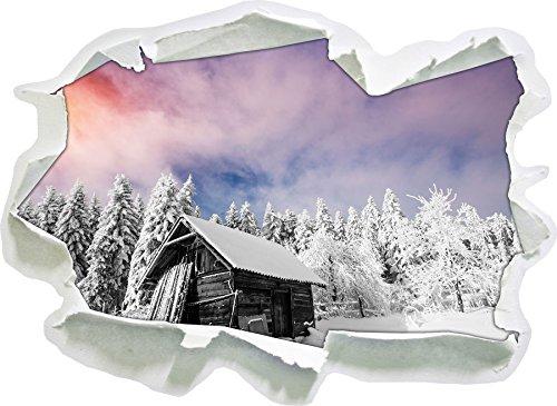 Solitaire cabane en Bois Confortable dans la Neige Noir/Blanc, Taille d'autocollant de Mur 3D de Papier: 62x45 cm décoration Murale 3D Stickers muraux Stickers