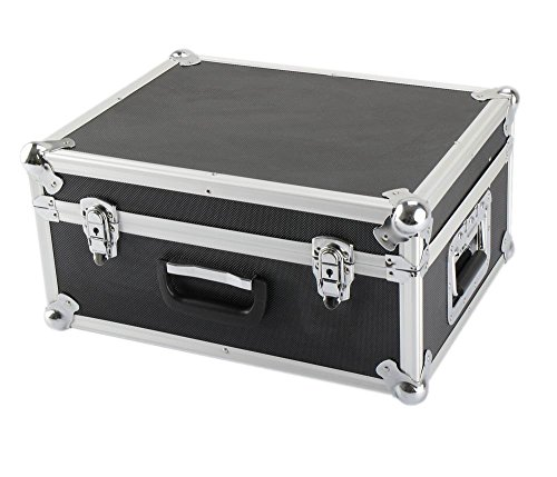 IQE-Storage Transportkoffer TB-HS1, 2 Spannschlösser, Aluminium-Kantenschutz, LxBxH: 45 x 35 x 21 cm, Schwarz, Transportbox, Koffer, Kiste