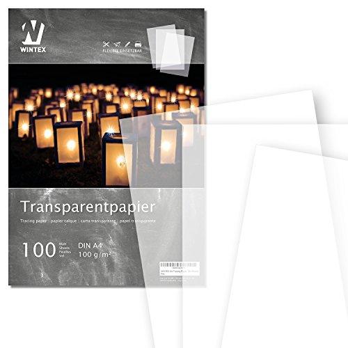 WINTEX carta lucida DIN A4, 100g/mq di ottima qualità, fogli di carta trasparente 100 pezzi
