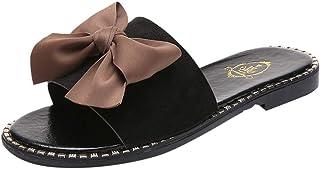 71faea7b254 JJLIKER Women Bow Open Toe Sandals Slip On Slippers Summer Slip-Ons Beach  Shoes