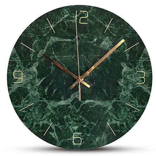 Jroyseter Moderne Marmor Wanduhr Acryl Runde Wanduhr Nicht Ticking Silent Clock Einfachheit Wohnzimmer Dekoration Stummes Uhrwerk (Grün)