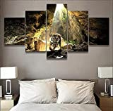 MPPSU Tigre En La Cueva 5 Paneles Impresión HD Cuadros Decoracion Dormitorios Salon Modernos 150Cm×80Cm con Marco