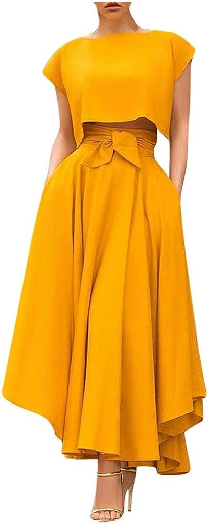 Henwerd Women Ankle Length High Waist Retro Long Skirt Summer Solid Color Beach Flowy Maxi Skirt Casual Party Skirt