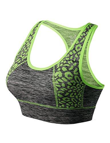 Match Mujer Sujetador Deportivo Racerback Con Relleno Sin Costura Sin Aros para Yoga Gimnasio Aptitud Fitness(Verde,L)