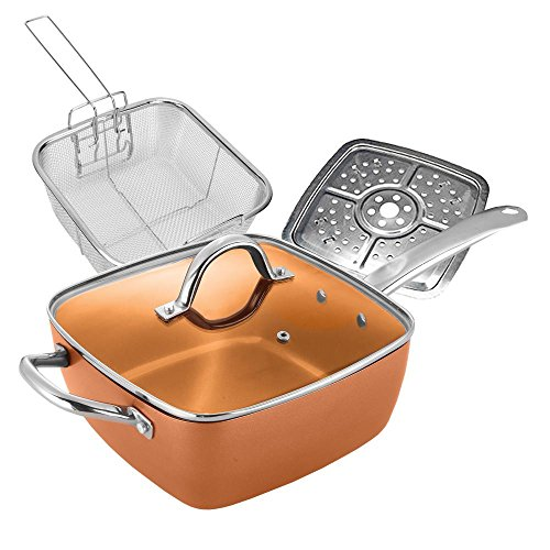 #1 Award Winning Copper Ceramic Square Non-Stick Ceramic Pan 4 Piece Set for Frying, Baking, Broiling, Steaming & Braising with Fry Basket Steamer & Tempered Glass Lid - As Seen On Tv