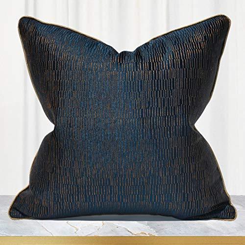 Decoración del hogar Fundas de cojín Decorativas para el hogar de Lujo Bordado Azul Oscuro Fundas de Almohada de Tiro Funda de Almohada Cuadrada Funda de Almohada 45 X 45